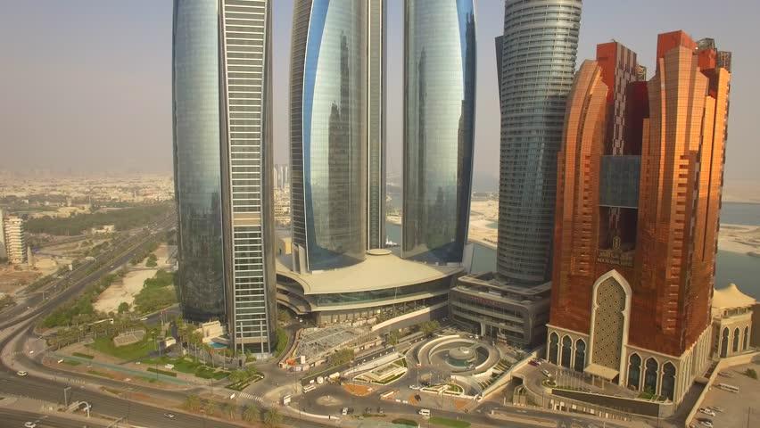 Aerial. Abu Dhabi cityscape. Modern skyscrapers. 4K
