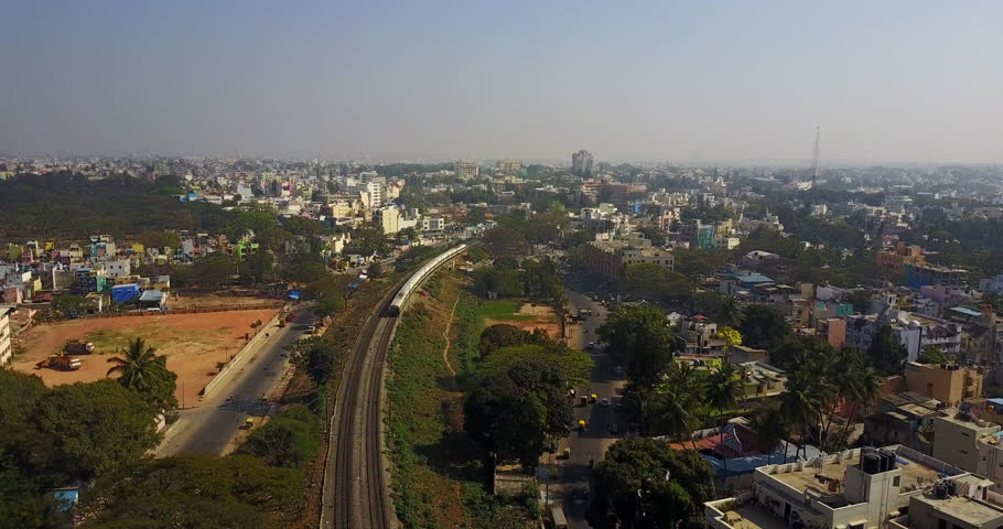 Aerial view of train in Bangalore city in India | Shutterstock HD Video #31362322