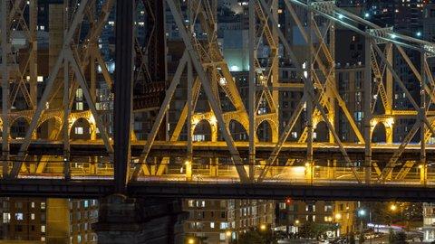 Queensboro Bridge in New York City Very Close Night Timelapse