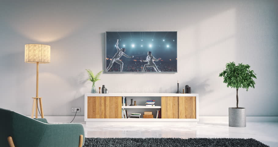 Footage of a living room led tv on white wall with wooden table and plant in pot showing fencing championship moment on 3D rendered sports stadium.