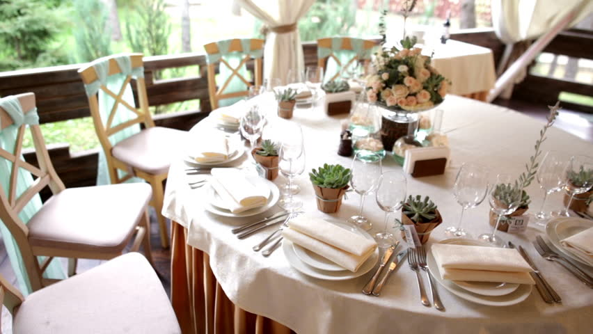 Table Layout At A Wedding Stock Footage Video 100 Royalty Free