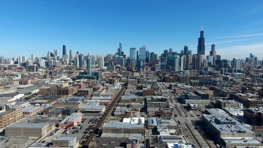 West side Chicago skyline train Winter