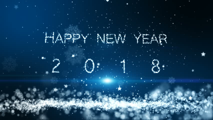 Animation motion background, The particle merges into a Happy new year 2018 with light ray beam.