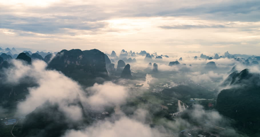 time lapse of aerial view of Li River and Karst mountains. Located near Yangshuo County, Guilin City, Guangxi Province, China