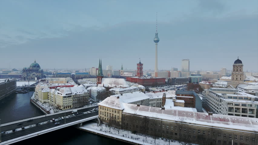 Berlin Skyline Winter City with snow and blue sky in Full HD 1080p, German Capital and famous landmark in Berlin, Germany, Europe