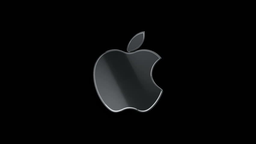 Editorial Animation: 3D rotation of symbol of Apple logo from glass. Animation of seamless loop.