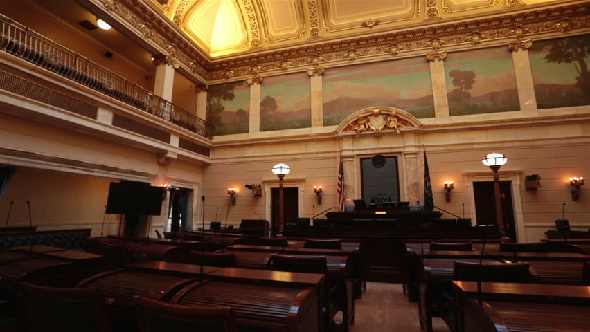 Utah State Senate Chamber Pan Capital Building High On A Hill Overlooking The