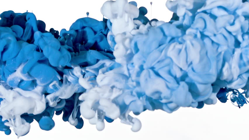 White and Blue inks are mixed in water. Use for backgrounds or overlays requiring a flowing and organic look. Amazing video asset for motion graphics projects or VFX composites.