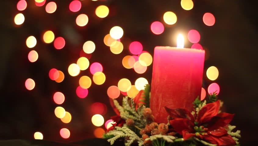 Holiday (christmas) Candle Light And Flashing Lights Stock Footage ...