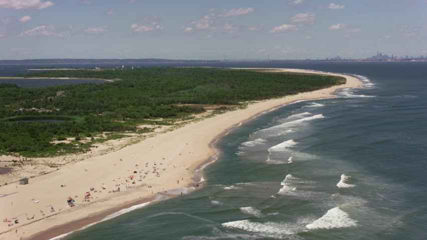 New Jersey Circa 2017 Flying Up Sandy Hook Beach Towards York City