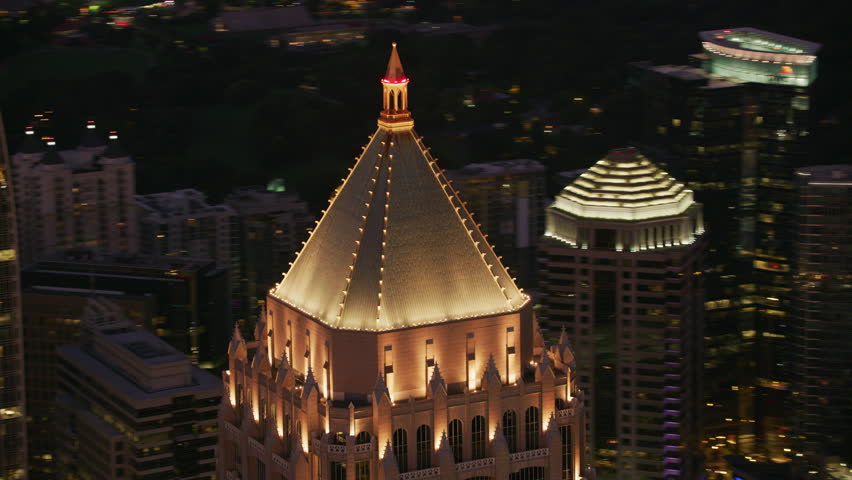 Atlanta, Georgia circa-2017, Closeup aerial shot of One Atlantic Center in Atlanta at sunset. Shot with Cineflex and RED Epic-W Helium.