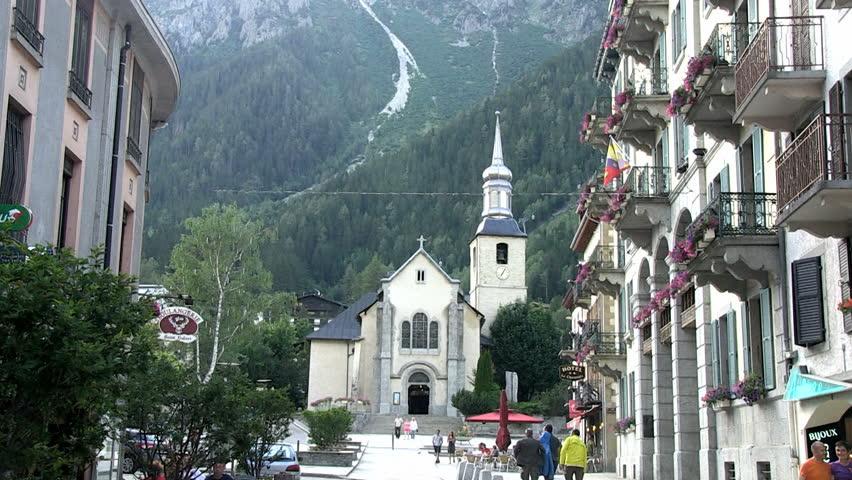 Superbe Place De Leglise, Chamonix, France Stock Footage Video (100 &JS_35