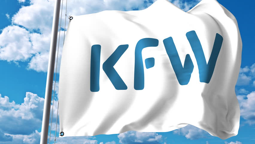 Waving flag with KfW logo against clouds and sky. 4K editorial animation