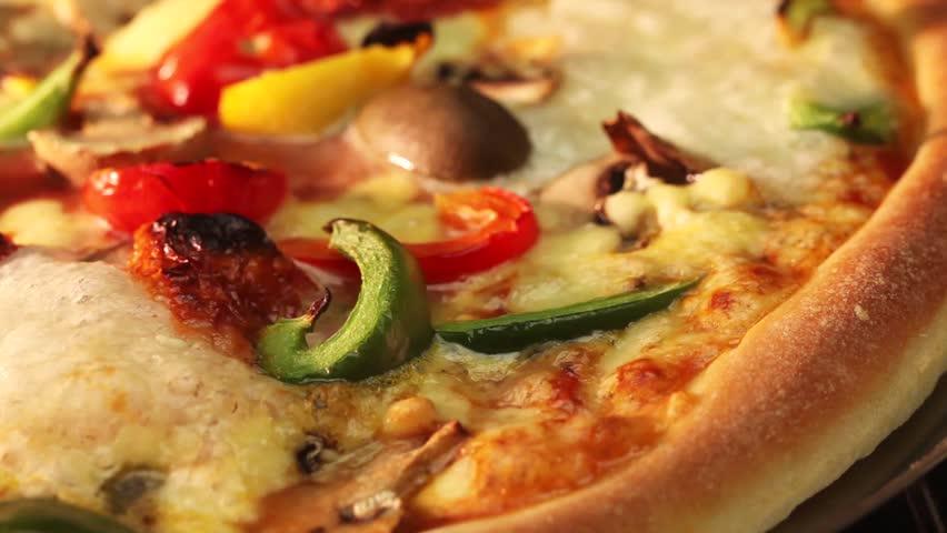 A vegetarian pizza in an oven (close-up)   Shutterstock HD Video #3154162