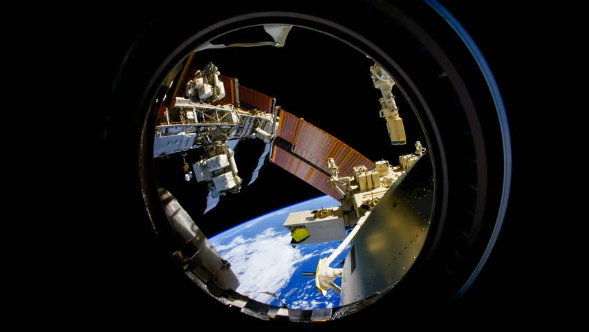 International Space Station view of rotating cloudy planet earth. Created from Public Domain images, courtesy of NASA Johnson Space Center : http://eol.jsc.nasa.gov. Rotate right