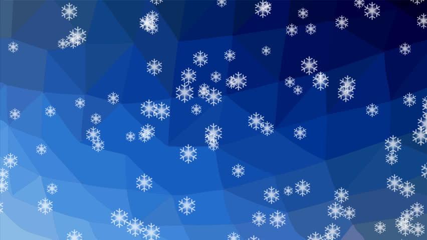 Днем, в открытке падают снежинки