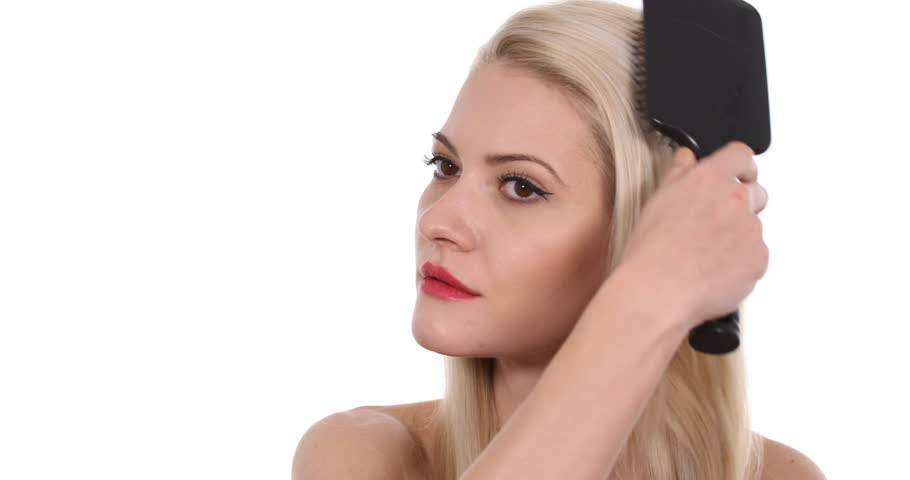 Handsome Young Woman Brushing Gentle His Blonde Hair Using Hairbrush Nude Female