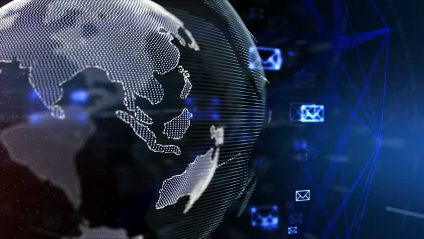 4K abstract information,Email flying around the World.   Shutterstock HD Video #31591552