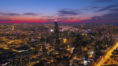 Aerial Illinois Chicago July 2017 Night 4K Inspire 2