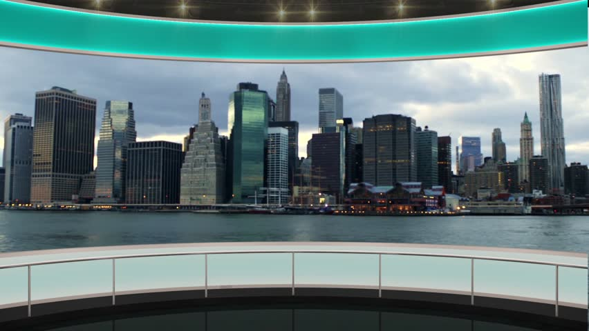 HDTV News TV Virtual Studio Green Screen Background Green Cityscape