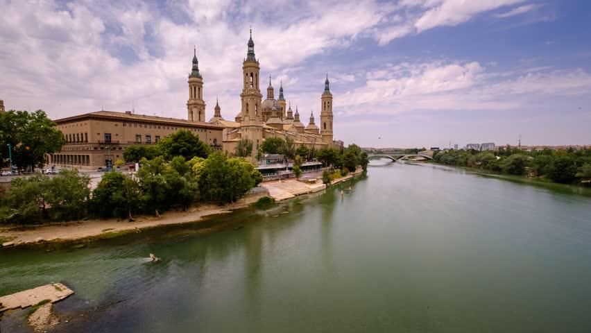 Timelapse Video of Basilica de Nuestra Senora del Pilar and Ebro River, Zaragoza, Aragon, Spain
