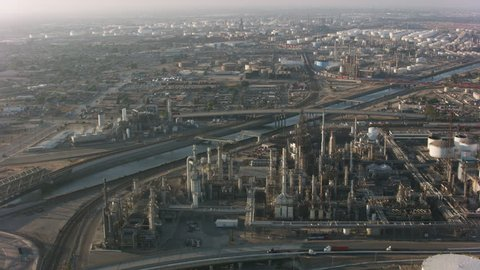 Long Beach, California circa-2017, Aerial shot of Long Beach industrial area. Shot with Cineflex and RED Epic-W Helium.