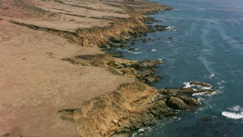 California circa-2017, Aerial view of rugged California coastline. Shot with Cineflex and RED Epic-W Helium.