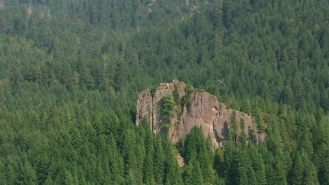 Oregon circa-2017, Aerial shot of rock outcropping in Oregon forest . Shot with Cineflex and RED Epic-W Helium.