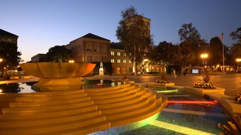 Los Angeles, OCT 8: Night timelapse of the beautiful fountain and Bovard Auditorium on OCT 8, 2017 at University of Southern California, Los Angeles, California, United States