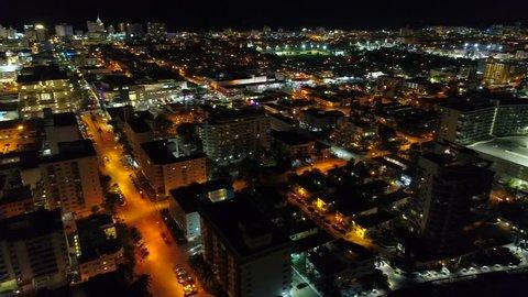 Aerial drone night panorama Miami Beach