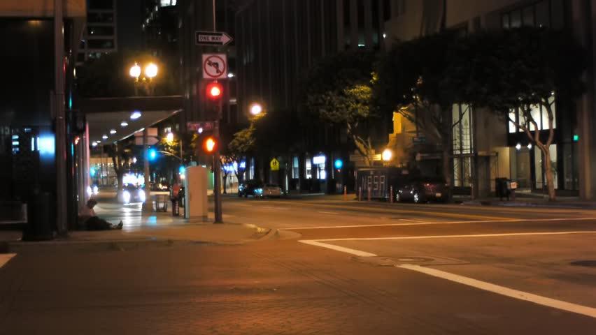 Quiet street in los angeles at night    Shutterstock HD Video #3167632