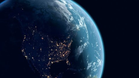 North America View with Zoom to the USA. Realistic Earth. Slowly Rotating Earth with Night City Lights. 3D Animation. Ultra High Detailed and Natural Textures. 4K. Ultra High Definition. 4096x2304.