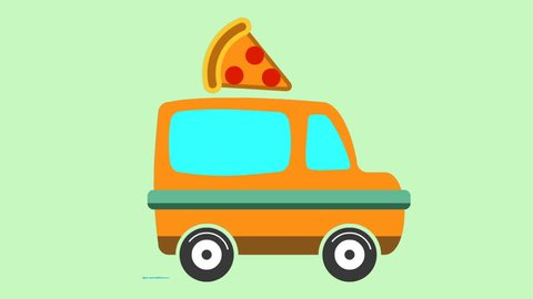 Animation of pizza delivery van