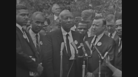 CIRCA 1963 - African American activist Asa Philip Randolph speaks at the White House with Martin Luther King Jr. during the March on Washington for Jobs and Fredom in Washington, D.C.
