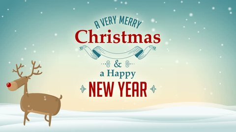 Cartoon Cute Vector Deer with Santa in the sky on Snowy Blue Winter background with Greeting A Very Merry Christmas and Happy New Year text label card Animation 4K