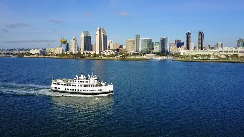 San Diego -  Downtown - Coronado Ferry - Drone Video Aerial Video of San Diego - Downtown and Coronado Ferry. Two ferry 15-minute ride routes service Coronado from San Diego,