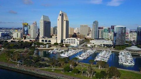 San Diego - Downtown - Coronado Ferry Landing - Drone Video Aerial Video of San Diego - Downtown and Coronado Ferry Landing with waterfront shopping center, apparel retailers, fine dining.