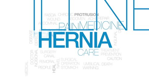 Hernia animated word cloud, text design animation. Kinetic typography.