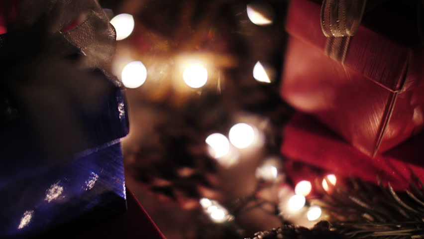 Christmas ball and gift boxes decoration with bokeh lights | Shutterstock HD Video #31858342