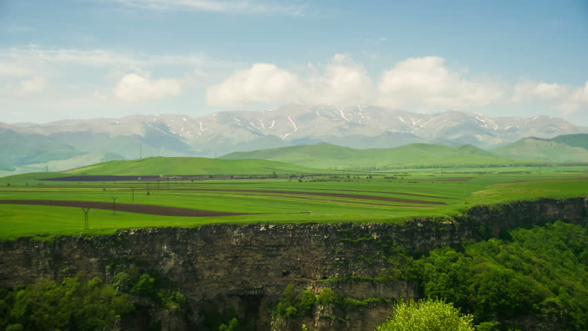 Landscapes and Mountains of Armenia. Time Lapse. Timelapse of the snowcapped mountain. #31871032