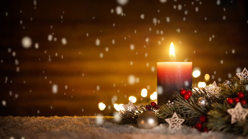 burning candle christmas decoration and wooden background in falling snow tranquil low key - Candle Christmas Lights