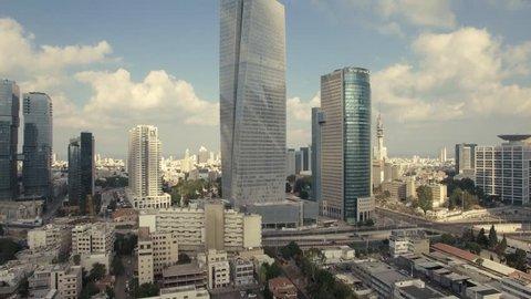 TEL AVIV, ISRAEL - SEPTEMBER, 2017: Tel Aviv Skyline Aerial View, Fly By Up, Over Tel Aviv And Ramat Gan At Day,