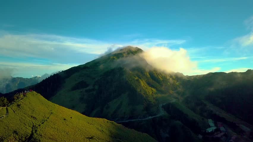 4K Aerial view Hehuanshan Mountain, Beautiful clouds in the mountains at altitude of 3,700 meters in Taiwan.