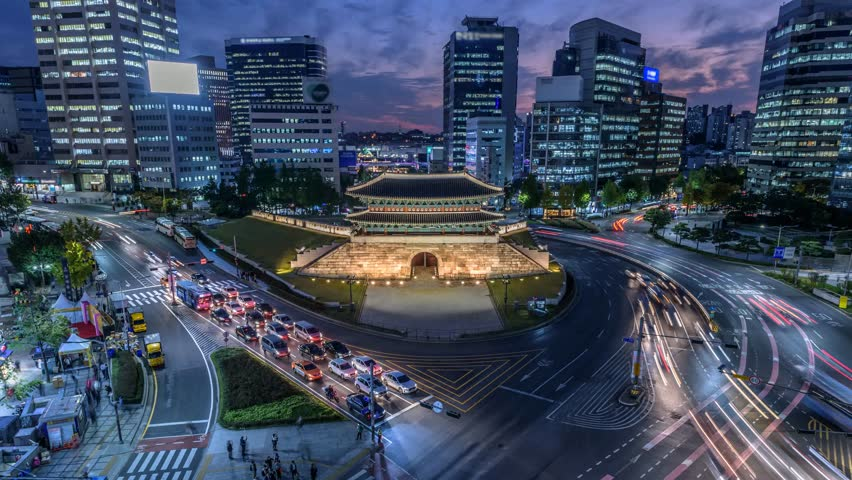 Time lapse zoom in of Traffic at Namdaemun gate and Seoul City,South Korea. | Shutterstock HD Video #31977772