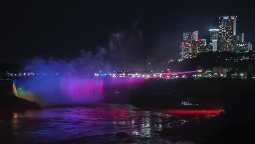 Niagara Falls at night. In the frame, you can see the American and Canadian coast, the waterfall is illuminated by floodlights