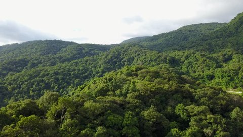 Aerial shot with a drone of a tropical rain forest in Thailand