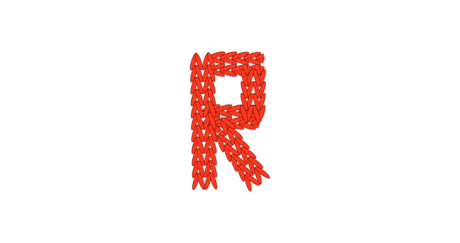 Knitting Alphabet Abc Letter R In Red Color On White Background Christmas Or New Year