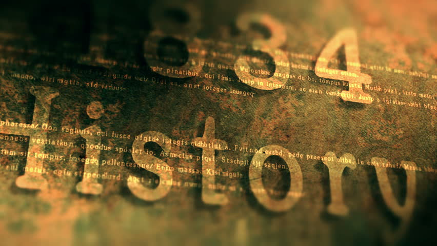 Rusty plate with the years of the last century. Animation of random historical dates. 4K UHD video loop background.
