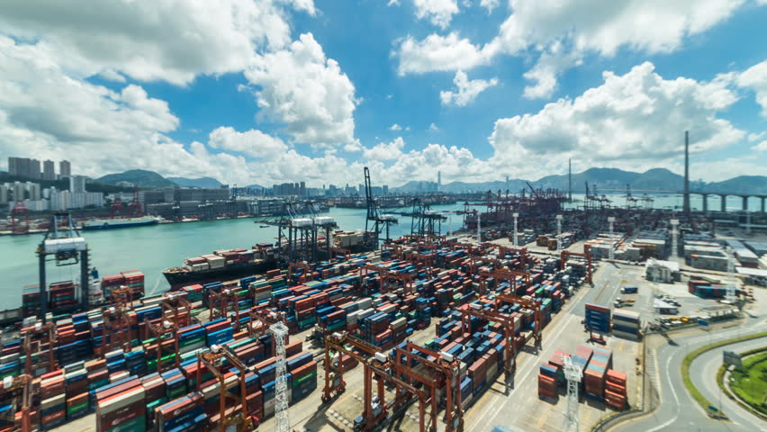 Time lapse of Hong Kong Container Terminal  - Hong Kong Kwai Tsing Container Terminals is one of the busiest ports in the world.