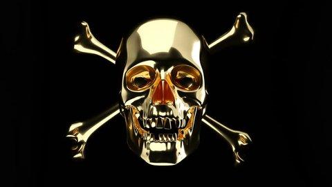 Golden Skull with cross bones or totenkopf with alpha matte. 3d animation, 3d rendering